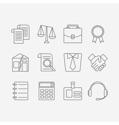 Set of modern flat line icons for law firm vector