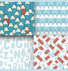 set of seamless patterns with cute cartoon vector image