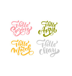set of six hello spring april march may pastel vector image