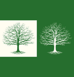 set of two silhouettes of a bare tree vector image