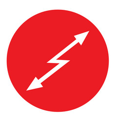 sign attention hazard red round icon with white vector image