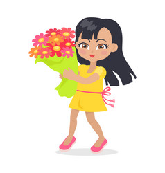 Smiling girl with colourful bouquet of flowers vector