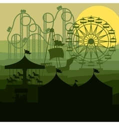 Sunset background amusement park vector