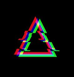 symbol triangle in glitch style vector image