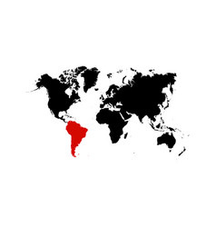 The map south america is highlighted in red on vector