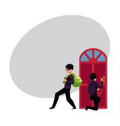 thief burglar breaking in house and walking away vector image