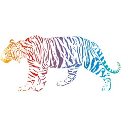 tiger - abstract rainbow vector image