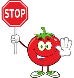 Tomato Cartoon Holding a Stop Sign vector image
