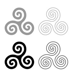 Triskelion or triskele symbol sign icon set grey vector