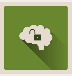 Unlocked brain on green background with shade vector