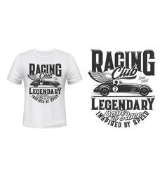 Vintage racing car t-shirt print mockup vector