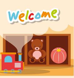 Welcome kindergarten toys bear train and ball vector