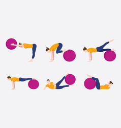 woman exercise ball movement set collection vector image