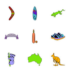 australian continent icons set cartoon style vector image vector image