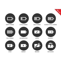 Battery charge levels icons on white background vector