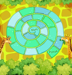 Boardgame template with giraffes in the bush vector image