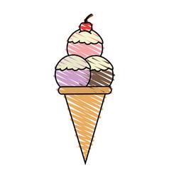 color crayon stripe cartoon ice cream cone with vector image
