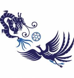 dragon phoenix sky vector image