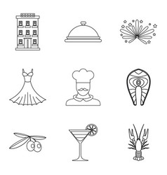 gluttony icons set outline style vector image