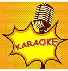 Karaoke Old style microphone on pop art style vector image vector image