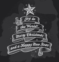 Retro Chalkboard Christmas calligraphy banner vector image vector image