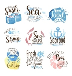 Seafood Cafe Promo Signs Colorful Set vector image vector image