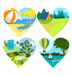summer holiday hearts vector image vector image
