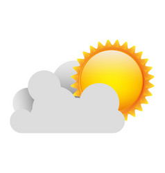 white cloud with sun icon vector image