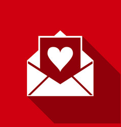 envelope with valentine heart with long shadow vector image