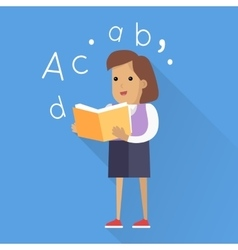 Schoolgirl with Book Isolated Character vector image vector image