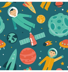 seamless pattern with space and planets vector image