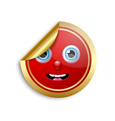 Smiling face sticker vector image