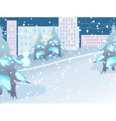 urban landscape night city in snow vector image