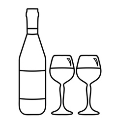 wine bottle and two glasses vector image vector image