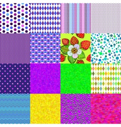 16 colorful geometric and floral seamless patterns vector image vector image