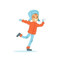 Boy playing snowballs traditional male kid role vector