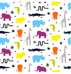 colorful zoo animal silhouettes baby seamless vector image