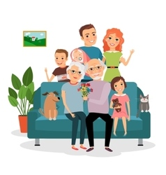 Family on sofa vector image vector image
