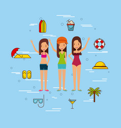 group girls beach vector image