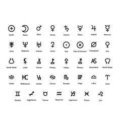 Large set of planet and constellations signs on vector image