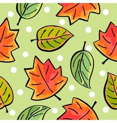 Seamless hand drawn autumn leaves pattern vector image vector image