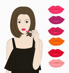 Woman applying lipstick vector image vector image