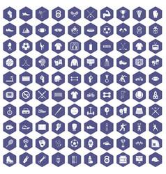 100 athlete icons hexagon purple vector