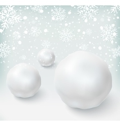 Background with snowballs and snow vector image
