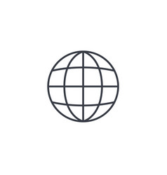 Earth globe thin line icon linear symbol vector