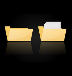folder icons empty and full on black background vector image