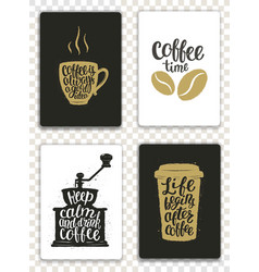 set of modern cards with coffee lettering vector image