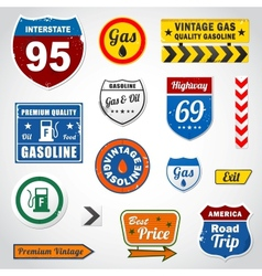 Set of vintage gasoline retro signs and labels vector image vector image