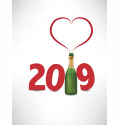 2019-happy new yeafr card with champagne bottle vector image