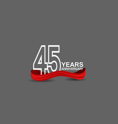 45 years anniversary line style white color vector